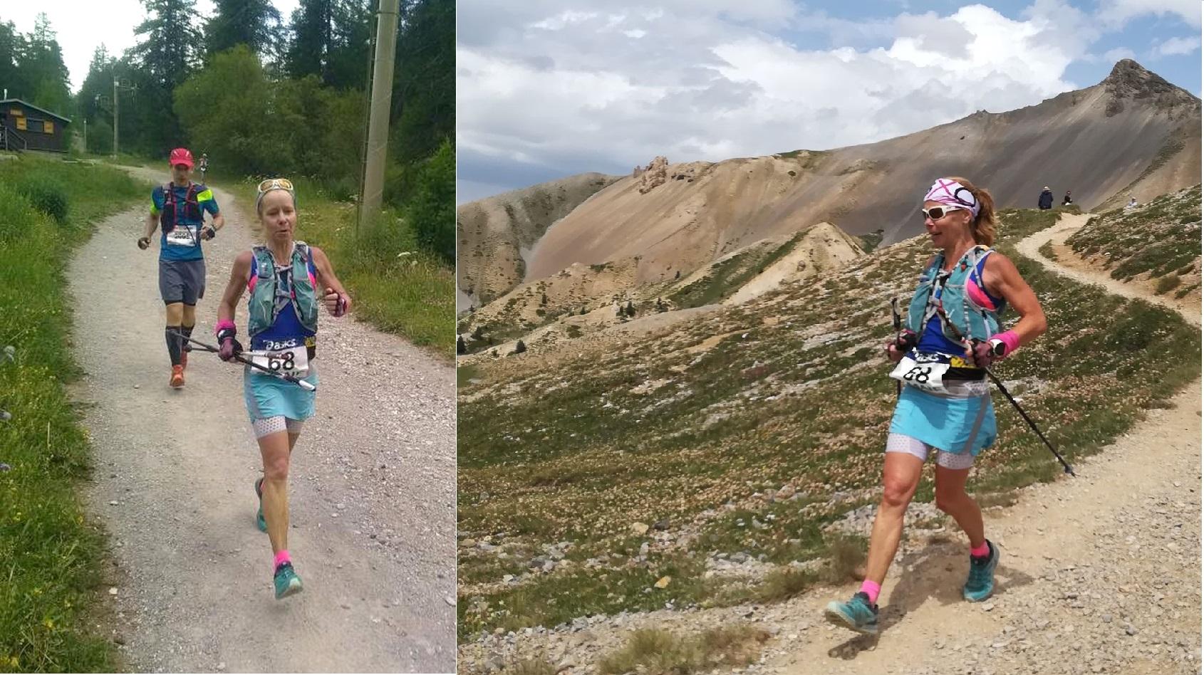 Florence Beynel, à l'arrivée vice-championne de France de trail long en catégorie masters 2